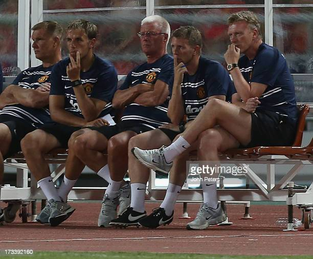 Goalkeeping Coach Chris Woods First Team Coach Phil Neville Coach Jimmy Lumsden Assistant Manager Steve Round and Manager David Moyes of Manchester...