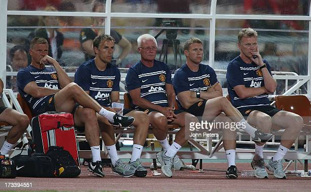 Goalkeeping Coach Chris Woods, First Team Coach Phil Neville, Coach Jimmy Lumsden, Assistant Manager Steve Round and Manager David Moyes of...