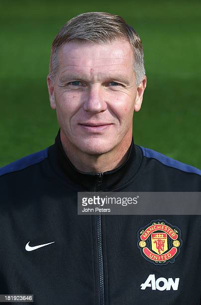 Goalkeeping Coach Chris Woods of Manchester Unted poses at the annual club photocall at Old Trafford on September 26, 2013 in Manchester, England.