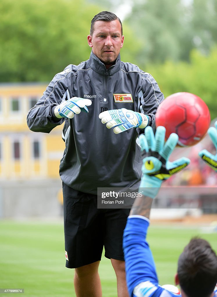 Goalkeeping coach Dennis Rudel of 1 FC Union Berlin during the training of Union Berlin on June 21, 2015 in Berlin, Germany.
