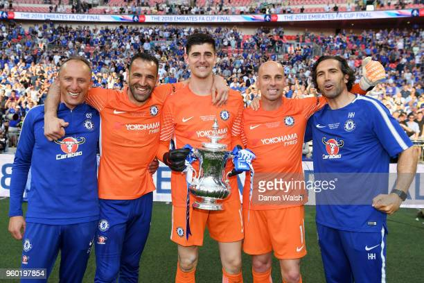 Goalkeeping coach Gianluca Spinelli Eduardo of Chelsea Thibaut Courtois of Chelsea Willy Caballero of Chelsea and Henrique Hilario assistant...