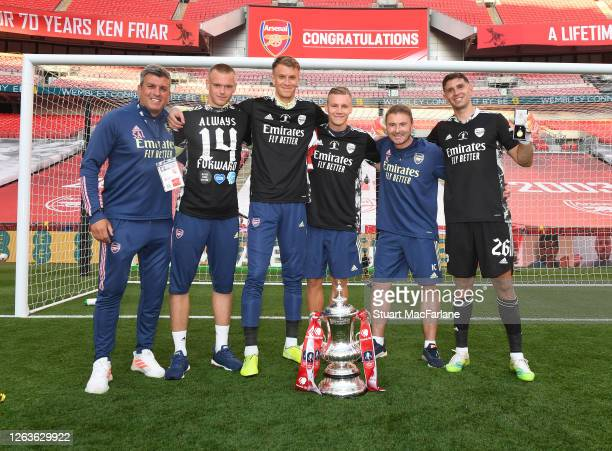 Goalkeeping coach Sal Bibbo Karl Hein Matt Macey Bernd Leno Inaki Cana Pavon and Emiliano Martinez after the FA Cup Final match between Arsenal and...