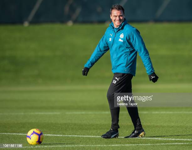Goalkeeping coach Steve Harper smiles during the Newcastle United Training Session at The Newcastle United Training Centre on November 15 in...