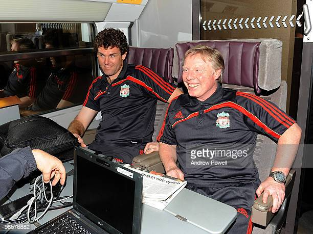 Goalkeeping coach Xavi Valero and assistant manager Sammy Lee of Liverpool travels on the Eurostar from London to Paris on April 20, 2010. Liverpool...