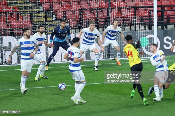 Goalmouth action as a group of QPR players position themselves on the goal line to defend during the Sky Bet Championship match between Watford and...
