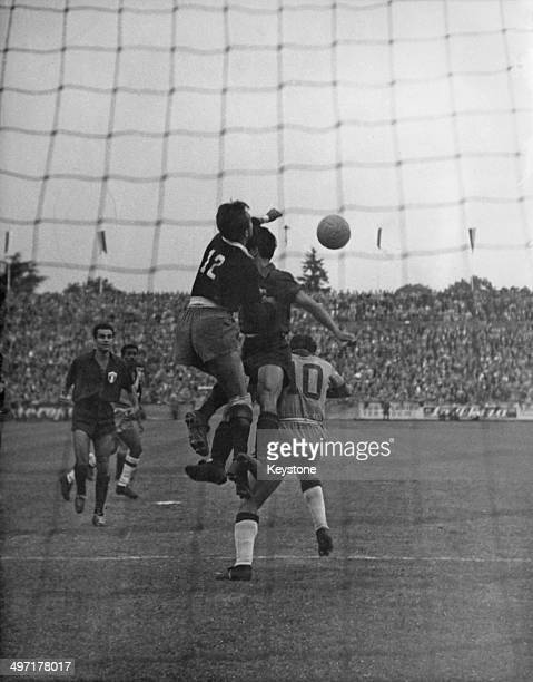 Goalmouth action during Brazil vs Mexico the opening match of the 1954 World Cup Charmilles Stadium Geneva 16th June 1954 Brazil won 50