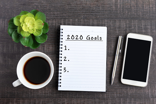 2020 Goals Text on Note Pad 1150655075