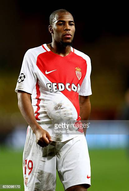 Goalscorer Djibril Sidibe of AS Monaco walks off with the ball under his shirt during the UEFA Champions League Group E match between AS Monaco FC...