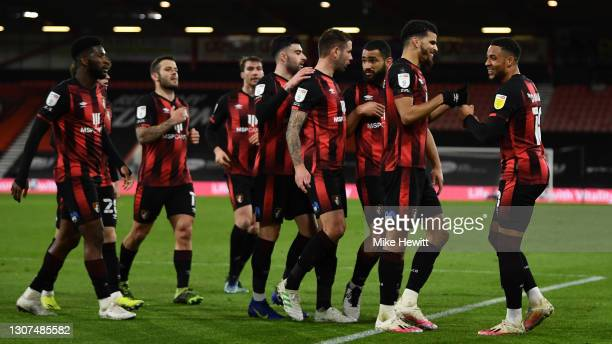 Goalscorer Dominic Solanke of Bournemouth celebrates with Arnaut Danjuma after scoring his team's 2nd goal during the Sky Bet Championship match...