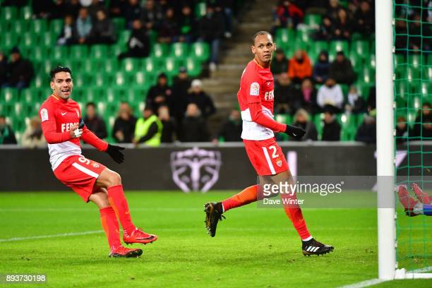 Goalscorer Fabinho of Monaco and Radamel Falcao of Monaco look across to the assistant referee but the goal is allowed to stand during the Ligue 1...