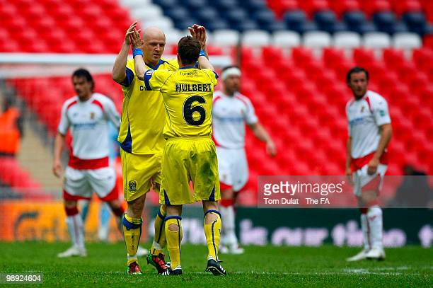Goalscorer for Barrow Lee McEvilly celebrates with Robin Hulbert during the FA Carlsberg Trophy Final match between Barrow and Stevenage Borough at...