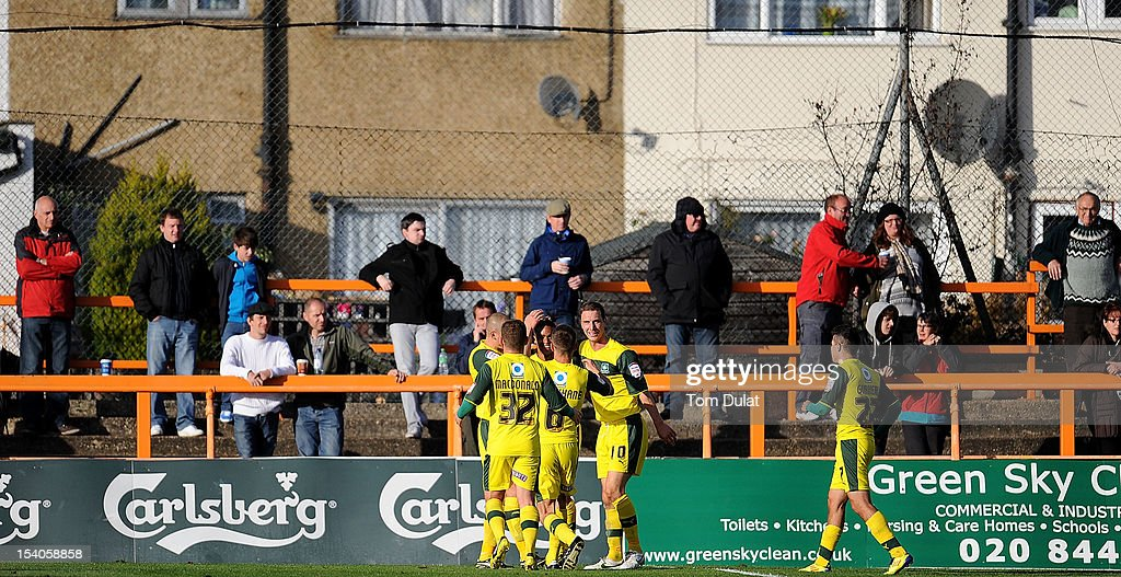 Goalscorer for Plymouth Argyle Paris Cowan-Hall (C) celebrates with his team during the npower League Two match between Barnet and Plymouth Argyle at Underhill Stadium on October 13, 2012 in Barnet, England.