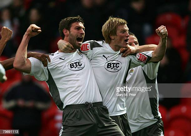 Goalscorer Jamie McCombe of Bristol City celebrates with his team mates after scoring the only goal of the game during the Coca Cola Championship...