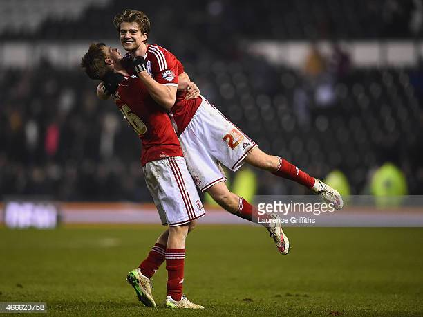 Goalscorer Patrick Bamford of Middlesbrough celebrates with Rhys Williams of Middlesbrough during the Sky Bet Championship match between Derby County...