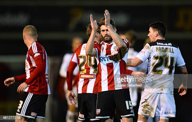 Goalscorer Stuart Dallas of Brentford FC celebrates at the final whistle after the Sky Bet Championship match between Brentford and Rotherham United...