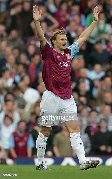 Goalscorer Teddy Sheringham of West Ham United celebrates during the FA Barclays Premiership match between West Ham United and Middlesbrough at Upton...