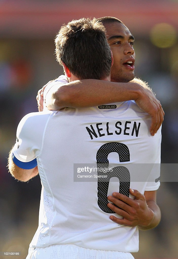 Goalscorer Winston Reid of New Zealand celebrates with Ryan Nelsen at the final whistle during the 2010 FIFA World Cup South Africa Group F match between New Zealand and Slovakia at the Royal Bafokeng Stadium on June 15, 2010 in Rustenburg, South Africa.