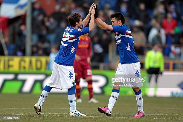 Goalscorers Gianluca Sansone and Marcelo Estigarribia of UC Sampdoria celebrate during the Serie A match between UC Sampdoria and AS Roma at Stadio...