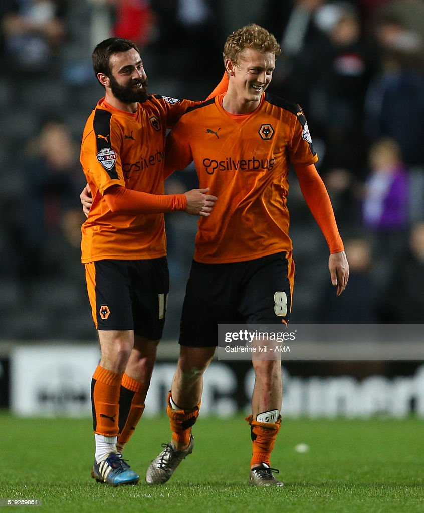 Goalscorers Jack Price and George Saville of Wolverhampton Wanderers celebrate at the end of the Sky Bet Championship match between MK Dons and Wolverhampton Wanderers at Stadium mk on April 5, 2016 in Milton Keynes, United Kingdom.