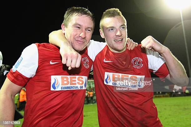 Goalscorers Jamie McGuire and Jamie Vardy of Fleetwood Town celebrate their sides 20 victory during the FA Cup Second Round Replay match between...