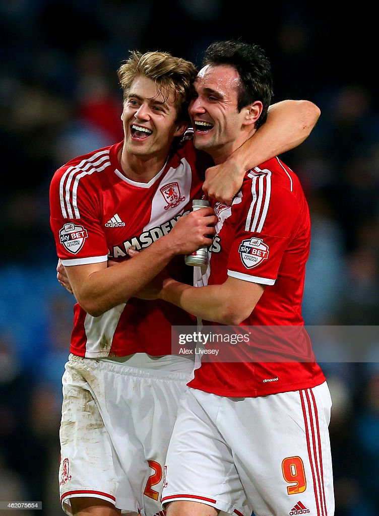 Goalscorers Patrick Bamford and Garcia Kike of Middlesbrough celebrate after the FA Cup Fourth Round match between Manchester City and Middlesbrough at Etihad Stadium on January 24, 2015 in Manchester, England.