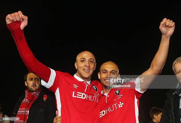 Goalscorers Richie Allen and Danny Webber of Salford City celerbate victory after the Emirates FA Cup first round match between Salford City and...