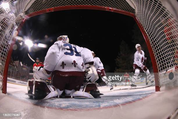 Goaltedner Philipp Grubauer of the Colorado Avalanche allows a third period goal to Alex Tuch of the Vegas Golden Knights during the 'NHL Outdoors At...