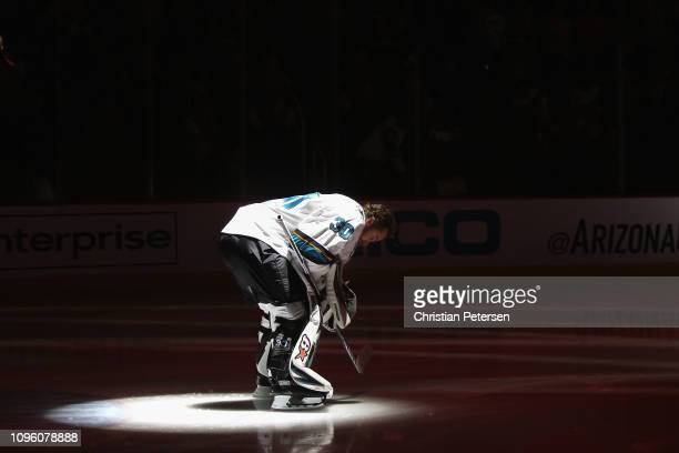 Goaltender Aaron Dell of the San Jose Sharks before the NHL game against the Arizona Coyotes at Gila River Arena on January 16 2019 in Glendale...