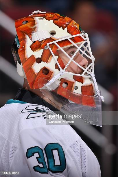 Goaltender Aaron Dell of the San Jose Sharks before the NHL game against the Arizona Coyotes at Gila River Arena on January 16 2018 in Glendale...