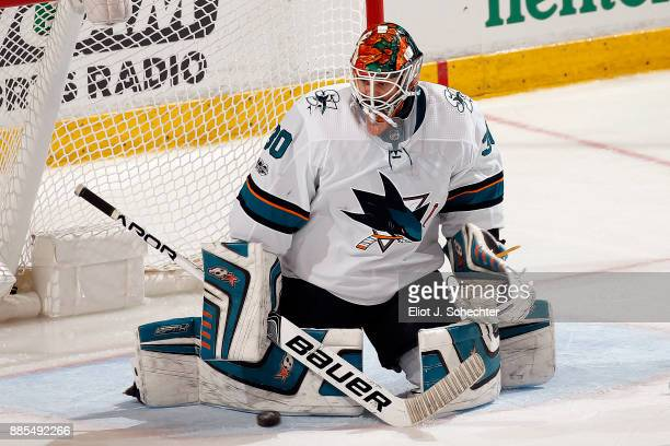 Goaltender Aaron Dell of the San Jose Sharks defends the net against the Florida Panthers at the BBT Center on December 1 2017 in Sunrise Florida