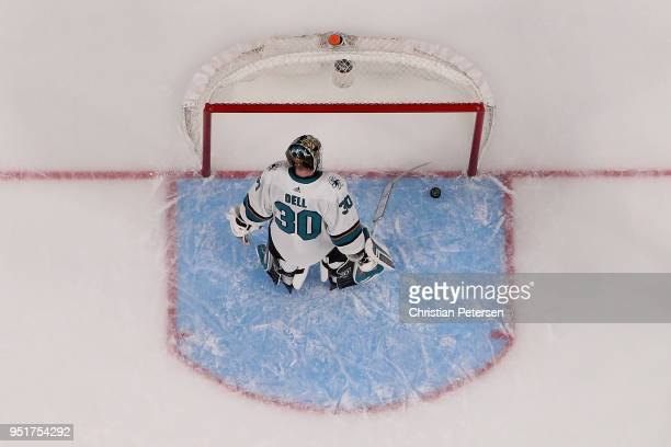 Goaltender Aaron Dell of the San Jose Sharks reacts after allowing a powerplay goal to James Neal of the Vegas Golden Knights in the third period...