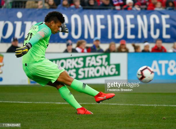 Goaltender Adrianna Franch of the USA kicks the ball during the second half of the 2019 SheBelieves Cup match between USA and England at Nissan...