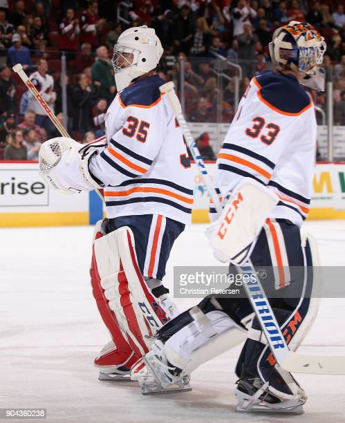 Goaltender Al Montoya of the Edmonton Oilers replaces Cam Talbot during the first period of the NHL game against the Arizona Coyotes at Gila River...
