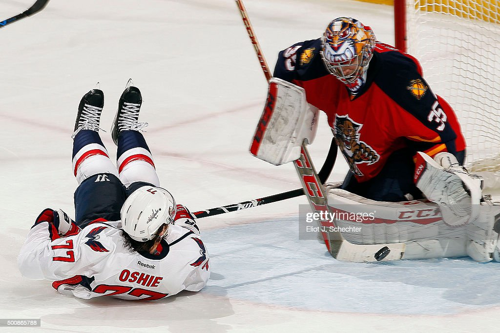 Goaltender Al Montoya #35 of the Florida Panthers defends the net against T.J. Oshie #77 of the Washington Capitals at the BB&T Center on December 10, 2015 in Sunrise, Florida.