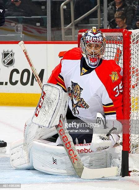 Goaltender Al Montoya of the Florida Panthers takes part in the pregame warm up prior to NHL action against the Winnipeg Jets on January 13 2015 at...