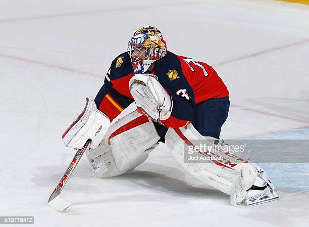 Goaltender Al Montoya of the Florida Panthers warms up prior to the game against the Pittsburgh Penguins at the BBT Center on February 15 2016 in...