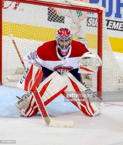 Goaltender Al Montoya of the Montreal Canadiens guards the net during second period action against the Winnipeg Jets at the Bell MTS Place on...