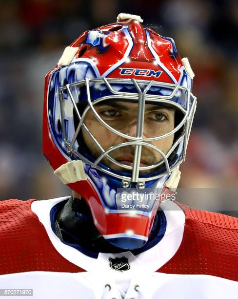 Goaltender Al Montoya of the Montreal Canadiens looks on during a first period stoppage in play against the Winnipeg Jets at the Bell MTS Place on...