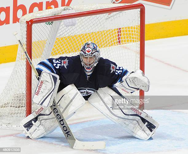 Goaltender Al Montoya of the Winnipeg Jets gets set in the crease during second period action against the Dallas Stars at the MTS Centre on March 16...