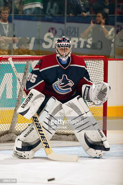 Goaltender Alex Auld of the Vancouver Canucks guards the net against the Florida Panthers during the game at General Motors Place on January 11, 2004...