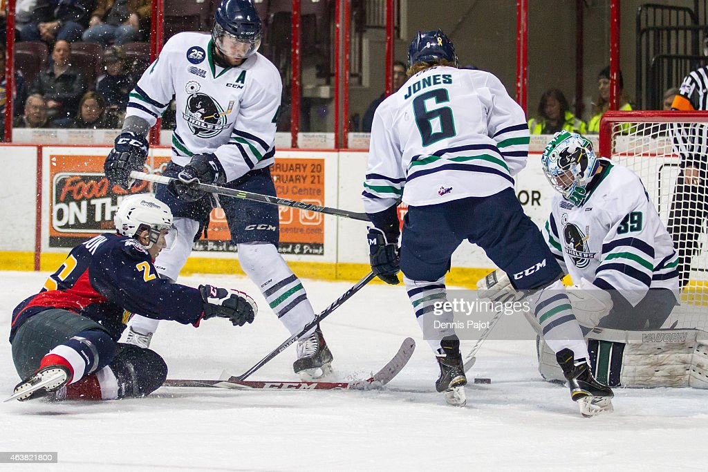 Goaltender Alex Nedeljkovic #39 of the Plymouth Whalers makes a huge save against forward Sam Povorozniouk #26 of the Windsor Spitfires on February 18, 2015 at the WFCU Centre in Windsor, Ontario, Canada.