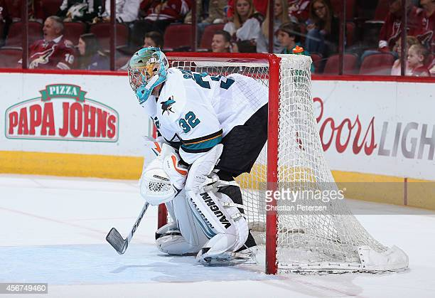 Goaltender Alex Stalock of the San Jose Sharks during the preseason NHL game against the Arizona Coyotes at Gila River Arena on October 3 2014 in...