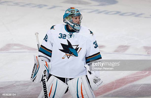 Goaltender Alex Stalock of the San Jose Sharks warms up before the NHL game against the San Jose Sharks at Gila River Arena on February 13 2015 in...