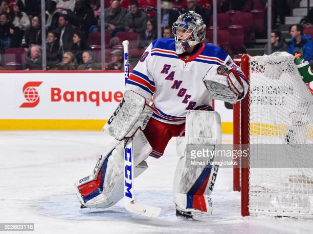 Goaltender Alexandar Georgiev of the New York Rangers protects his net during his first NHL career game against the Montreal Canadiens at the Bell...