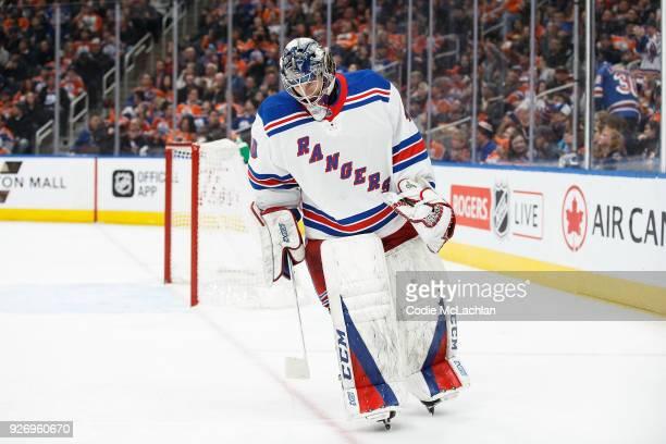 Goaltender Alexandar Georgiev of the New York Rangers skates against the Edmonton Oilers at Rogers Place on March 3 2018 in Edmonton Canada