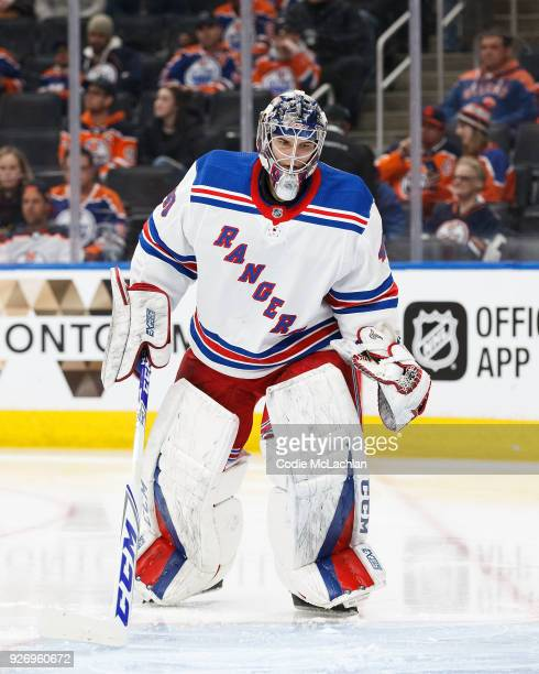 Goaltender Alexandar Georgiev of the New York Rangers skates against the Edmonton Oilers at Rogers Place on March 3 2018 in Edmonton Canada