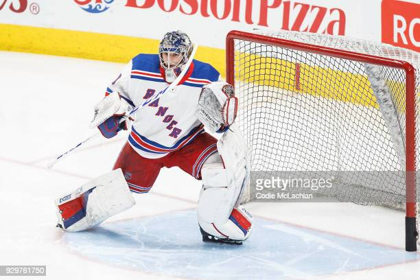 Goaltender Alexandar Georgiev of the New York Rangers warms up against the Edmonton Oilers at Rogers Place on March 3 2018 in Edmonton Canada