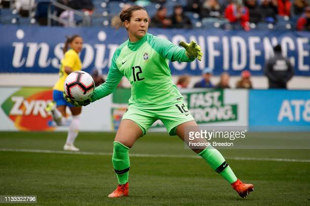 Goaltender Aline of Brazil plays during the 2019 SheBelieves Cup match between Brazil and Japan at Nissan Stadium on March 2 2019 in Nashville...
