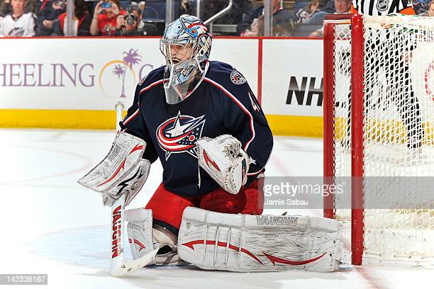 Goaltender Allen York of the Columbus Blue Jackets defends the net against the Florida Panthers on March 30 2012 at Nationwide Arena in Columbus Ohio