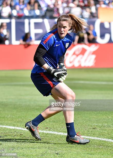 Goaltender Alyssa Naeher of the USA warms up prior to a game against France in an international friendly match of the SheBelieves Cup at Nissan...